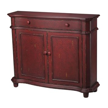 Forest Knolls Cabinet Red finish w/distressing & antique wash