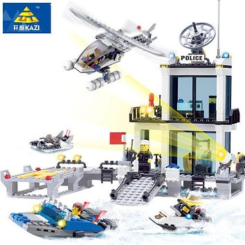 KAZI 6726 Police Station Building Blocks Helicopter Boat Model Bricks Toys Compatible famous brand brinquedos Birthday Gift