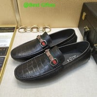 Gucci Men Leather Fashion Signature Driver Casual Black Shoes Best Quality