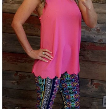Scalloped Tie Back Top: Hot Pink