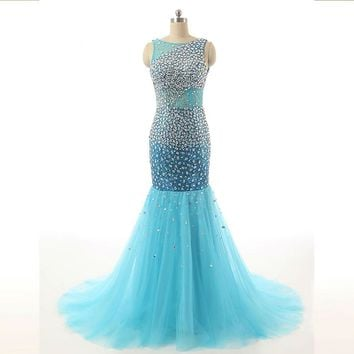 Crystal Mermaid Celebrity Evening Dress Gowns Tulle Long Women Formal Party Dress