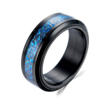 US 7 to 14 High-quality silver & Black Color Blue Carbon Fiber 316L Stainless Steel Dragon Rotate Men Ring Male Rings