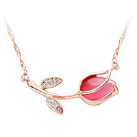 SENFAI Red Tulip Flower with Cat Eyes Opal Stone Crystal Pendant Necklace Woman Summer Flower Rose Gold Chain Necklaces