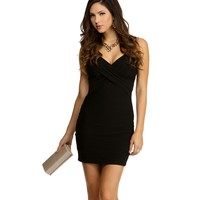 Black V-Neck Banded Bodycon Dress