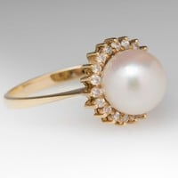 Vintage Pearl Ring with Diamond Halo 18K