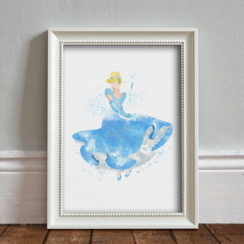 Cinderella WATERCOLOR Art illustration, Disney Princess, Wall Art, Nursery, Digital Poster Print, INSTANT DOWNLOAD