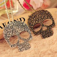 Women's Vintage Gothic Carved Flowers Skull Pendant Chain Necklace Long Sweater Chain Fashion Jewelry = 1946431044