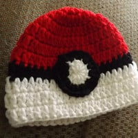 SALE Crochet Pokeball Beanie Newborn-10yrs Made To Order NEW Pokemon Pokeball beaine hat for girls and boys