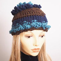 Chunky knit hat -Teen girl hat - Blue cloche -Brown hat -Teal beanie - Ruffled hat - Woman knit hat - Woman winter hat  - Fall accessories