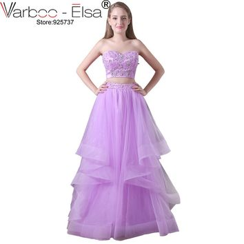 VARBOO_ELSA 2017 Homecoming Dresses 2 Piece Purple Lace Long Evening Dress Beaded Sequined Party Dress Sexy Strapless Prom Dress