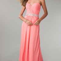 Full Length Strapless Chiffon Formal Gown