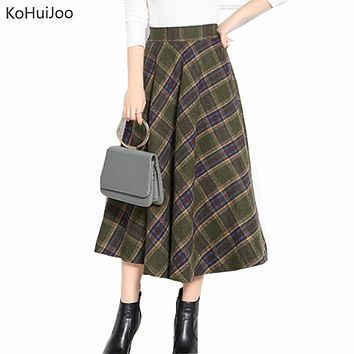New Winter Skirt 2017 Autumn Fashion Women's Long Woolen Skirts A-line Plaid Wool Skirts Elastic Waist Vintage Skirts female