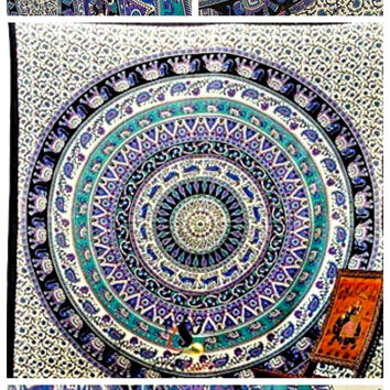 The Trina Large Hippie Tapestry Mandala Bohemian Elephant Bedspread Throw