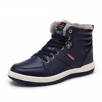 JINTOHO Winter Men Fashion Leather Boots Casual Men Leather Moccasin Brand Winter Men