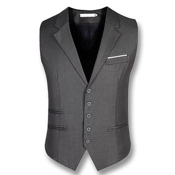 2017 Colete Masculino Business Men Dress Vests Suit Vests Blazers Jackets Men's Casual Fashion Slim Fit Large Size Waistcoats