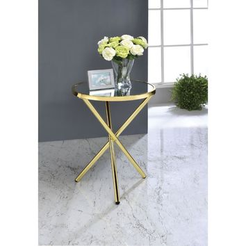 Beautiful Side Table, Mirror & Gold By ACME