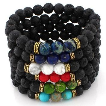 DCCK1IN 2017 new design natural stones men bracelets women charm bracelets bangles healing balance buddha beads wrap wristband cuff