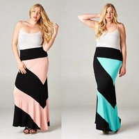 Printed Block Color Plus Size Maxi Long Skirts Coral & Teal , Black