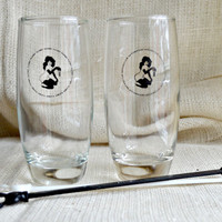 Pair of Playboy Club Glasses and swizzle sticks // Vintage Playboy bar glasses // Black and white playboy bar set