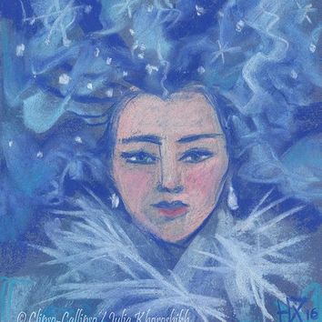 Snow girl, blushed face, blue hair, Russian winter, Siberian beauty, Christmas and New Year art, pastel painting, original and prints