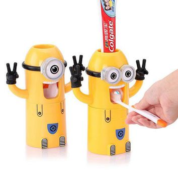 VONC1Y Home Bathroom Products Cute Design Set Cartoon yellow  Minions Toothbrush Holder Automatic Toothpaste Dispenser Toothpaste