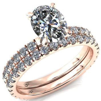 Alessi Oval Moissanite 4 Claw Prong 3/4 Micro Pave Engagement Ring