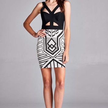 Both Sides Black and White Bodycon Dress