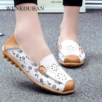 Genuine Leather Shoes Women Ballet Flats Loafers Summer Moccasins