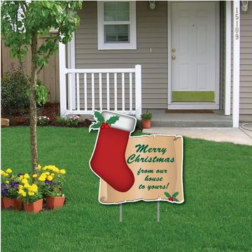 Christmas Stocking & Scroll Message Christmas Lawn Display - Yard Sign