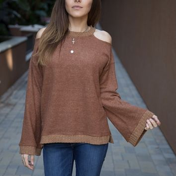 Tina Rust Cold Shoulder Sweater (Last ONE)