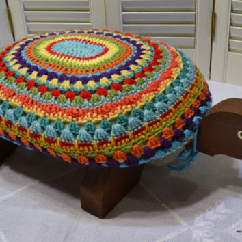 Turtle Stool Crochet Cover Mandala Wooden Multicolor Handmade Littlestsister