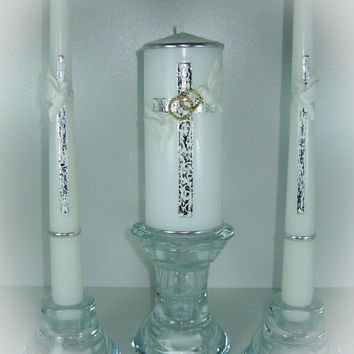 "Handmade Hand Decorated Wedding Unity Candles ""Silver Cross with White Doves and Wedding Rings"", Pillar Candle, Taper Candles, Personalized"