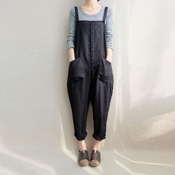 ZANZEA Women Sleeveless Pockets Dungaree Baggy Jumpsuits Overalls Fashion Strappy Casual Loose Long Harem Pants Bib Trousers