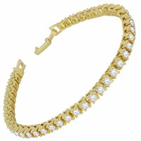 Mens Womens 1 Row Simulated Diamond Tennis Bracelet 14k Gold Plated 8 inch