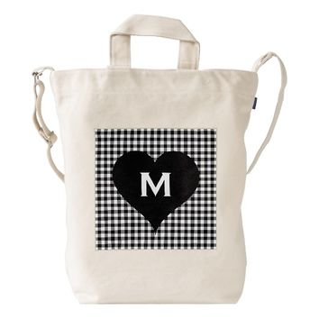 Black and White Checks Customize Monogram Heart Duck Canvas Bag