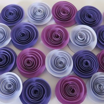 "24 Shades of Purple Flowers, 1.5"" Paper Roses, Ombre Purple, Baby Shower Table Decorations"