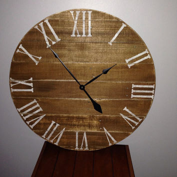 "26"" Rustic Pallet clock w/white roman numerals reclaimed wood clock. In stock and ready to ship!!"