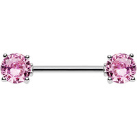 Pink Cubic Zirconia Front Gem Nipple Barbell | Body Candy Body Jewelry