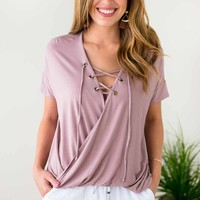 Mauvelous Lace Up Surplice Front Top