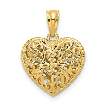 14k Two Tone Gold 14mm Reversible Filigree Heart Pendant