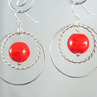Sterling Hoop Earrings made with Orange Lampwork Glass Beads Sterling Silver Twisted Hoops and findings