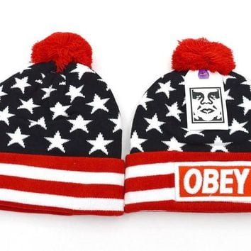 Obey Women Men Embroidery Beanies Knit Wool Hat Cap-10