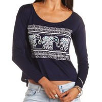 Rhinestone Elephant Graphic Top by Charlotte Russe - Blue Depths