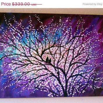Commission made to order -Large Paintings Original contemporary  modern Cherry Tree and love birds 2-- free shipping- Va