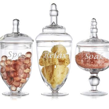 Elegant Clear Set of 3 Glass Apothecary Jars with Lid - High Glass Canister - Home Decor & Bath Storage Set Terra Collection (3 Piece Set) Designer Decorative.
