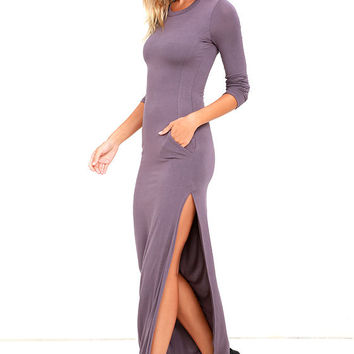 Want It All Dusty Purple Long Sleeve Maxi Dress