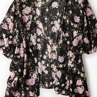 AEO 's Don't Ask Why Printed Chiffon Kimono (Black)