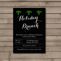 Christmas Holly Holiday Brunch Invitations