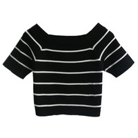 Black Crop Top With White Stripes