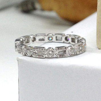 Diamond Wedding Ring,14K White Gold, Round/Baguette Full Cut Diamond,Eternity Matching Band,Anniversary Fine Ring,Art Deco Antique,Milgrain